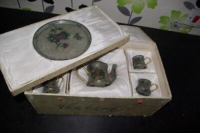 Vintage Chinese Plique a Jour Glass & Metal Boxed Tea Set Cloisonne