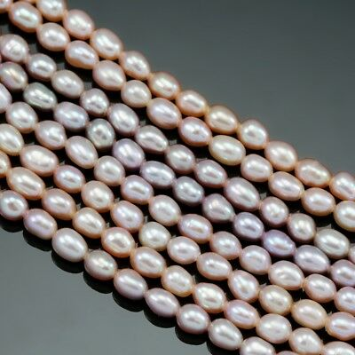 Cultured Freshwater Pearls 3-4mm Mauve Dusty Peach Pink Rice Oval Loose Beads