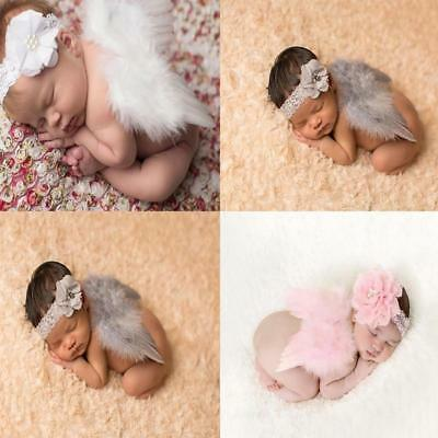 Newborn Baby Angel Wings Chiffon Headband Costume Photo Photography Props ozau