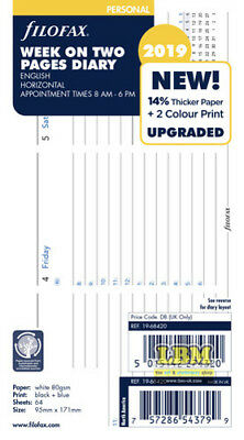 Filofax 2019 Personal size Diary - Week On Two Pages HORIZONTAL layout 19-68420