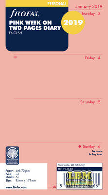 Filofax 2019 Personal size Diary - Week On Two Pages Pink Insert Refill 19-68478