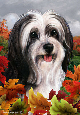 Large Indoor/Outdoor Fall Flag - Black & White Tibetan Terrier 13478