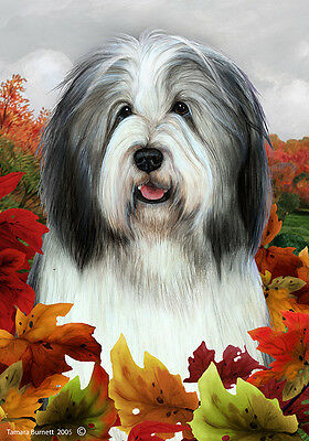 Large Indoor/Outdoor Fall Flag - Blue & White Bearded Collie 13170
