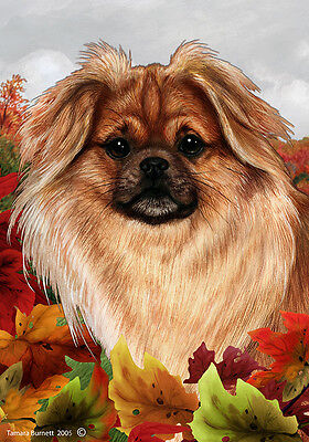 Large Indoor/Outdoor Fall Flag - Sable Tibetan Spaniel 13477