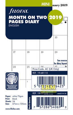 Filofax 2019 Mini size Diary - Month On Two Pages Insert Refill 19-68110