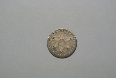 1858 Silver Three, 3 Cent Piece, VG Condition - C5243