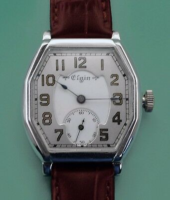 Vintage 1903 ELGIN USA Double Dial Art Deco Antique Men's Wrist Watch