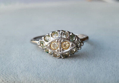 Vintage Art Deco eye-shaped rhinestone and sterling silver ring