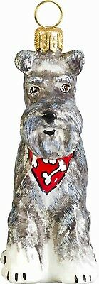 Floppy Ears Grey Schnauzer with Bandana Polish Glass Christmas Tree Ornament New