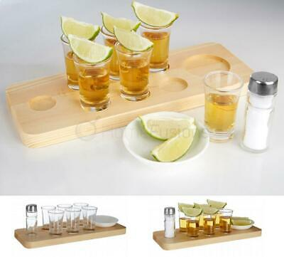 9Pc Tequila Shot Glass Set With 6 Glasses Salt Shaker Dish Pine Serving Tray