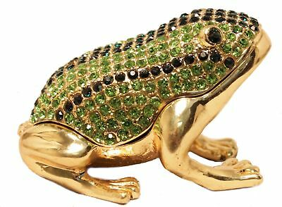 Green and Gold Frog Jeweled Crystal Trinket Box