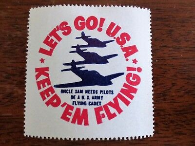 1940s WWII Keep Em Flying US Army Flying Cadets Uncle Sam Poster Stamp Sticker