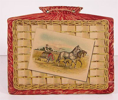 c1890 EMPIRE HORSE DRAWN FARM MACHINERY CHROMOLITHOGRAPH ADVERTISING WALL POCKET
