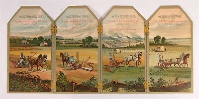 ca1890 DEERING HORSE DRAWN FARM MACHINERY BOOKLET WITH CHROMOLITHOGRAPH PANELS