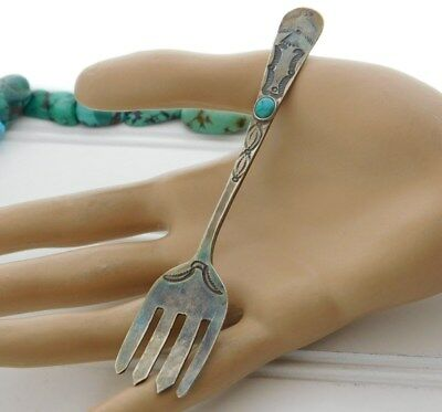 Vtg Old PAWN NAVAJO Harvey THUNDERBIRD Sterling SILVER Turquoise BABY Child FORK