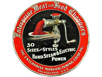 Antique Enterprise Food & Meat Choppers #2140 Advertising Tin Litho Tip Tray
