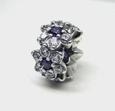 0d9d3be09 NEW AUTHENTIC PANDORA Forget Me Not Purple & Clear CZ Spacer Charm ...