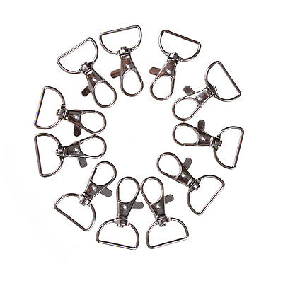 10pcs/set Silver Metal Lanyard Hook Swivel Snap Hooks Key Chain Clasp Clips M