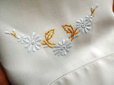 Vintage Antique HAND EMBROIDERED WHITE IRISH LINEN HEMSTITCHED King PILLOWCASE