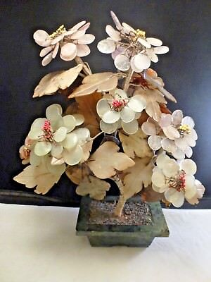 """Vtg Antique Chinese Carved Jade Hardstone Bonsai Tree    12 x 9"""" wide  approx"""