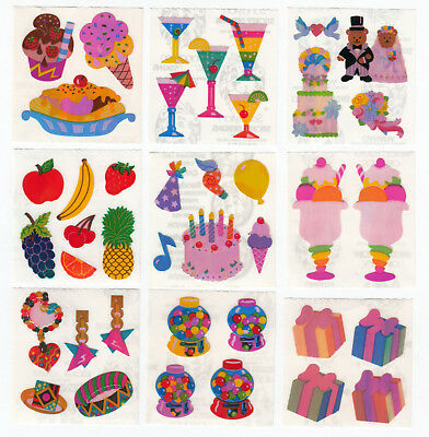 Vintage Sandylion Pearly Pearl Opal MOP Food Candy Party Stickers - You Choose