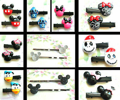 2 X (1 Pair) Of Disney Character Hair Grips Clips Acrylic Mickey Minnie Mouse