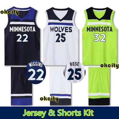 Top & Shorts Minnesota Timberwolves NBA Jersey Youth Adult Kid Outfit Men Set