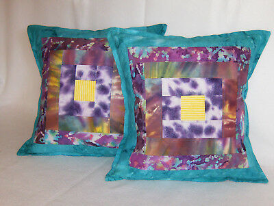 "2 Bohemian Batik Tropical Beach Quilted Pillow Covers Handmade Square14""x14"""