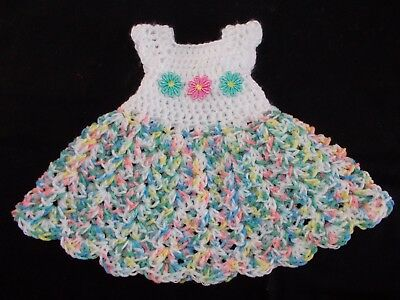 Handmade Crochet Baby Dress White Variegated By Rocky Mountain