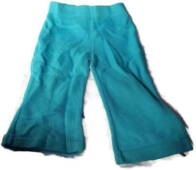 1970's Little Girls Soft Ribbed Knit Flare Legged Pants 2T or 3T Teal - Vintage