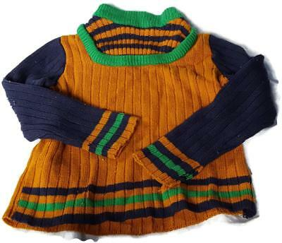 Vintage 1970's Just Mine Cable Sweater Gold, Blue, Green Size 7