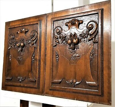 Solid Hand Carved Wood Panel Pair Antique French Architectural Salvage Panelling