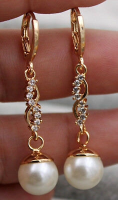 "18K Yellow Gold Filled - 1.7'' Pearl Hollow ""8"" Style Topaz Bride Gems Earrings"