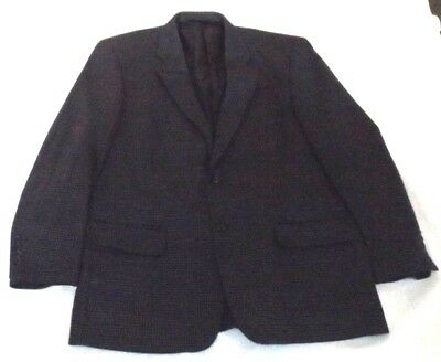 """VINTAGE 42R BOTANY 500 LAMBSWOOL BLUE BROWN DOGSTOOTH JACKET CHEST44"""" 112cm"""