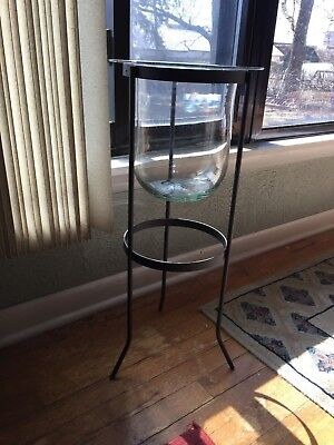 Partylite Seville 3 Wick Candle Holder Metal Stand & Glass