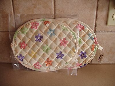 Longaberger Set Of Two Oval Pot Holders Easter Egg Fabric * Nip * Free Shipping