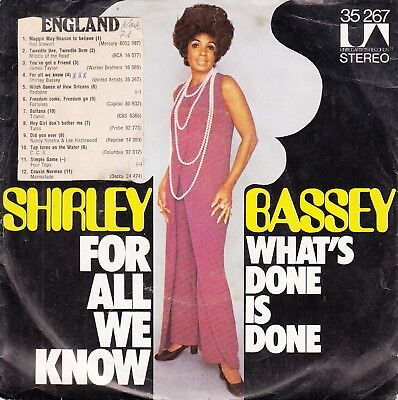 "7""-  Shirley Bassy = For All We Know / What's Done Is Done"