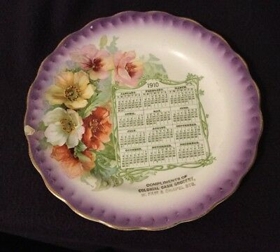 McNicol China 1910 Calendar Carnation Plate ~ Colonial Cash Grocery
