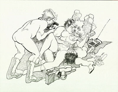LYNN HARRISON Snd ORIGINAL SEXY BUSTY STAG PARTY 1960's-70's ILLUSTRATION ART