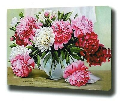 FLORAL ELEGANCE PAINTING PAINT BY NUMBERS CANVAS KIT 20 x 16 ins FRAMELESS
