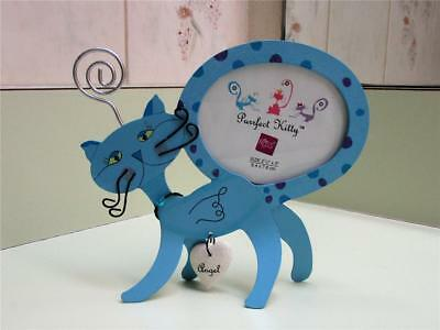 Russ Purrfect Kitty Standing Blue Metal Cat With Wire Whiskers Picture Frame