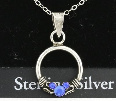 """NEW Disney 18"""" Necklace & Pendant Set - 925 Sterling Silver Blue Mickey Mouse"""