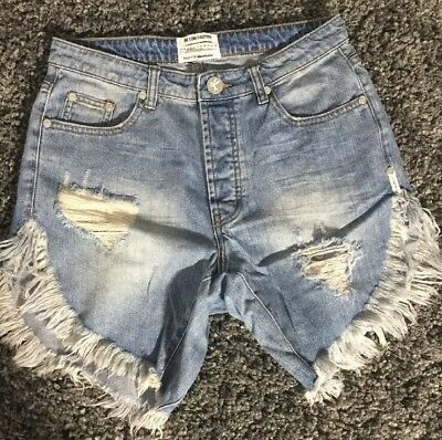 NEW One Teaspoon Hendrixe Frankies Jean Shorts Mid Length Slouchy Destroyed