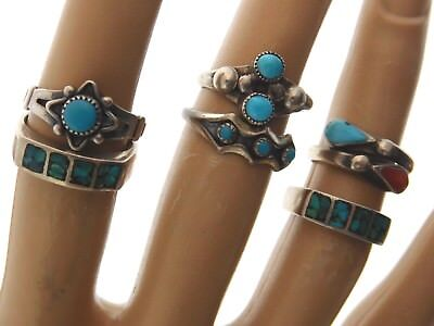 LOT of 6 VINTAGE Old PAWN NAVAJO Sterling Silver TURQUOISE Child or PINKIE Rings
