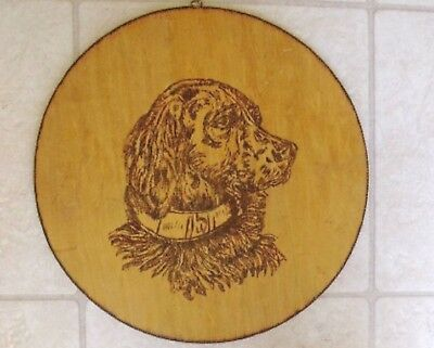 "Rish Setter Wood Burned Picture Wall Plaque  - 13 1/2"" Round"