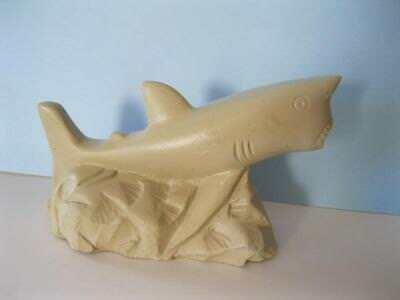 """SHARK Carving Marked DOM REP 2012 4"""" long x 2-1/2"""" high unknown material- stone?"""