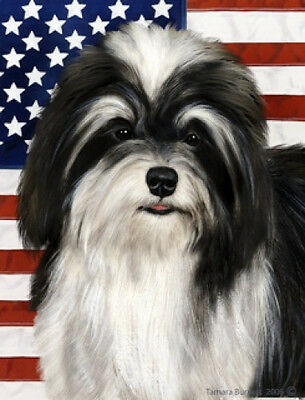 Large Indoor/Outdoor Patriotic II Flag - Black & White Havanese 32092