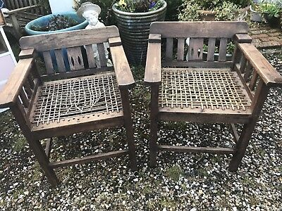 Arts and Crafts chairs with pig skin webbing that need restoration
