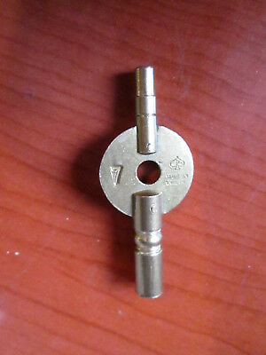 Double Ended brass carriage clock key. English made. Winder Parts (180N)