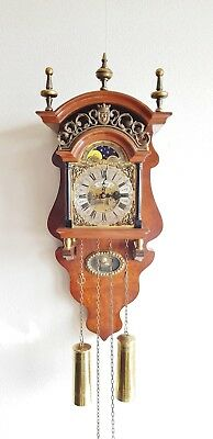 Warmink Sallander Wall Clock Dutch Nut Wood  8 Day Vintage Bell Strike Moonphase